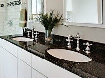 black granite countertops in bathroom